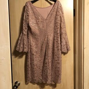 Jessica Howard Pink Lace Bell Sleeve Dress: 10